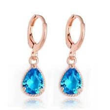 High Quality Rose Gold Plated CZ Crystal Zircon Drop Earrings Women Diff Colours