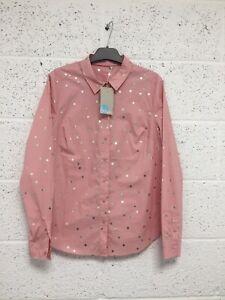 BNWT Boden Classic Shirt - Cotton Pink Silver Metallic Spot Polka Dot - UK 16
