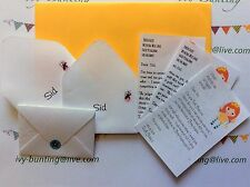 Tooth FAIRY PERSONALISED Lost Tooth Letters with Fairy stamped envelopes x 22