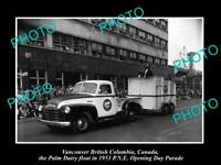 OLD HISTORIC PHOTO OF VANCOUVER CANADA, PNE PARADE, THE 1953 PALM DAIRY FLOAT
