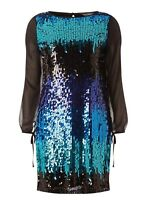 Billie & Blossom Black Multi Rainbow Sequin Shift Dress UK 12 BNWT Free P&P