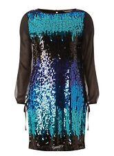 Billie & Blossom Black Multi Rainbow Sequin Shift Dress UK 6 BNWT Free P&P