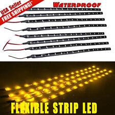 8x 12V 3000K Amber Yellow 30CM 15-LED Car Motor Flexible Strip Lights Waterproof