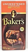 Baker's Unsweetened Chocolate Baking Chocolate Bar 100% Cacao 4 oz Bakers