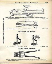 1908 ADVERT Colson's Short's Pig Baby Forceps Holder Pratt's Perfect Dehorner