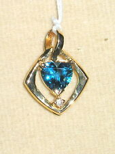SOLID     14K Gold     BLUE  TOPAZ   Diamond    Pendant