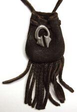 "Tribal design medicine bag, dark brown draw (""horseshoe"") charm"