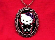 HELLO GOTH KITTY CAT BLACK PENDANT NECKLACE GOTH KAWAII