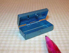 Miniature Petite Blue Metal Tackle Box, Hinged/Opens DOLLHOUSE 1/12 Scale