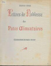 LETTRES DE NOBLESSE DES PATES ALIMENTAIRES - F. COVER - E.O. N° - CUISINE SOLANO
