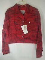Brand New Ferre Jeans Italian Women Jacket Red Black Camo Silver Buttons Size 34