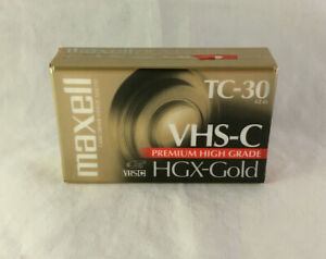 Maxell Camcorder Blank Videocassette Tape TC-30 VHS-C High Grade HGX-Gold New