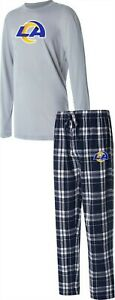 NFL Men's Pajama Set Long Slv Top Flannel Pants Rams XXXXL # A387683