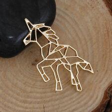 Unicorn Origami Long Necklace - GOLD TONE