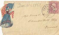Civil War: VERMONT, Old Point Comfort 1860s Patriotic Cover