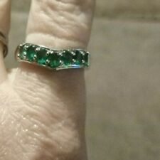 1ct Itabira Emerald Sterling Silver Ring Size P - Q / 8 .