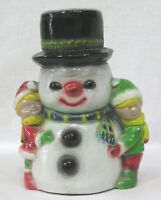 Vintage Christmas Ceramic Snowman and Children Figurine 1960s