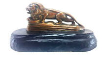 VINTAGE  1950 METAL AND WOOD  LION PAPER WEIGHT