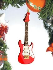 """Miniature 5"""" Red Electric Guitar Hanging Tree Ornament"""