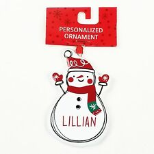 Lillian Snowman Christmas Ornament Personalized Holiday Tree Decor Decoration