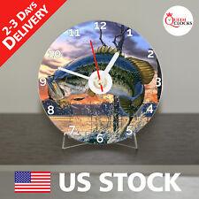 NEW Bass Fishing CD Clock Fish Good Box Gift Getting The Worm Largemouth Art USA