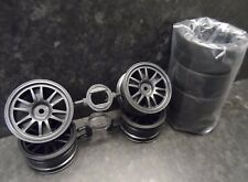 New Tamiya Raikiri GT Road Car Wheels & Slick Tyres 1/10 12mm Hex TT01/TT02