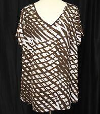 Lane Bryant Women Top Blouse Shirt $54.95 Sz 18/20 Geometric Crochet Brown #1257