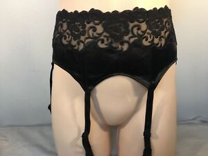 La Perla Garter Belt Black Silk & Lace Size Medium Italy Size 2