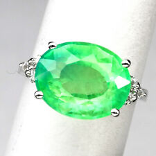 EMERALD GREEN OVAL 8.70CT.SAPPHIRE 925 STERLING SILVER RING SZ 6.75 JEWELRY GIFT