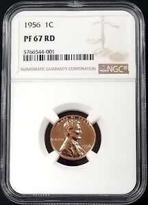 1956 Proof Lincoln Cent certified PF 67 RD by NGC!