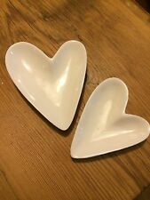 Shoeless Joe. Set of 2 ceramic heart dishes.Trinket dish.Anniversary GIFT. NEW