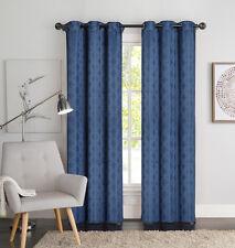 "Two (2) Blue Window Curtain Panels: Geometric Design, 76"" x 84"", Grommets"