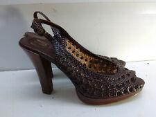 Ann Marino Brown Woven Leather Slingback Ankle Strap Heeled Sandal Women Shoe 8M