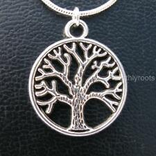 Round tree of life pendant with 18inch sterling silver snake chain and pouch