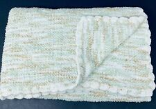 Tiddliwinks Baby Blanket Knit Chenille Green Brown White Scallop Edge Trim Lovey