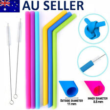 6x Reusable Food Grade Silicone Drinking Straight Bent Straw Straws +2 Brushes