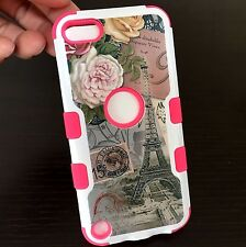 For iPod Touch 5th / 6th Gen -PINK HYBRID SKIN CASE EIFFEL TOWER FLOWER POSTCARD