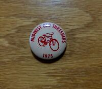 MIDWEST OLD SETTLERS & THRESHERS ASSN 1975 Beige Bicycle Mini Pinback Pin Button