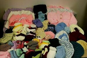 HAND KNITTED Job Lot Children's Cardigans Hats Gloves Bootee's Scarf Re Sale (OS