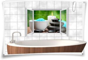 Fliesenaufkleber Fliesenbild Fliesen Aufkleber ZEN Wellness SPA Kerzen Bad WC