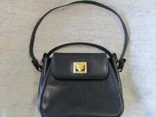 Barry Kieselstein-Cord Black Grained Leather Gold Tone Fox Accent Handbag