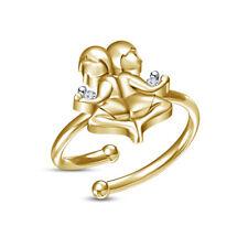 Zodiac Signs Gemini Adjustable Toe Ring 14K Yellow Gold Over D/Vvs1 Diamond