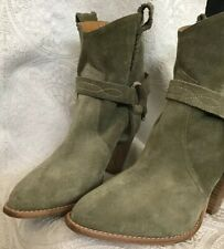Isabel Marant Ankle Cowboy Boot Kaki Suede Attached Straps Size 41