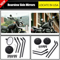 For Harley Cruiser Chopper Cafe Racer Motorcycle 8mm 10mm Round Rearview Mirrors
