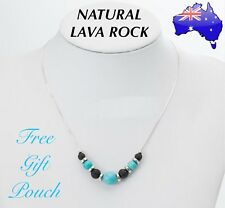 Natural Lava Rock Turquoise Stone Aromatherapy Essential Oil Diffuser Necklace