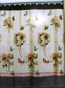 Floral Bath Shower Curtain Cabbage Rose & Butterflies MARCHE AUX FLEURS Orig $60