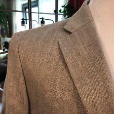 NEW! HACKETT London Men's Brown Beige Jacket Linen Herringbone Blazer 40R $650