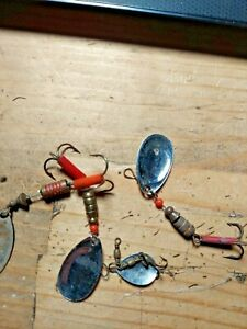 Old fishing lures mixed lot of spinners for trout to panfish fishing .