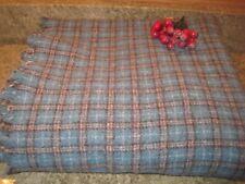 Vintage CLEARBROOK Virginia Loomed Plaid Wool Blanket 55 x 52 Aqua Blue Tartan