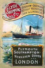 Clyde Shipping Steam Ocean Liner, Ship, Boat, Sea, Medium Metal/Tin Sign